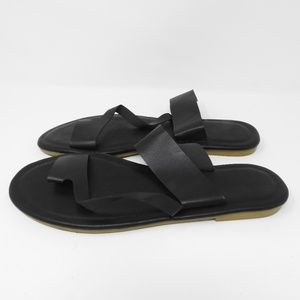 Shoes - Black Leather Slides Sandals NWOT